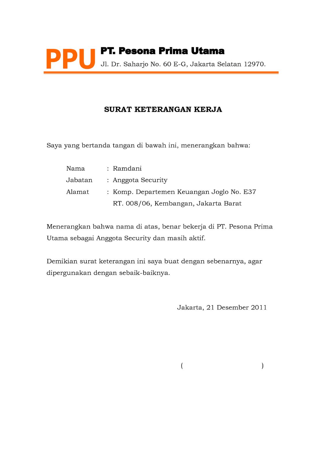 Lengkap Contoh Surat Keterangan Kerja Disertai File Doc