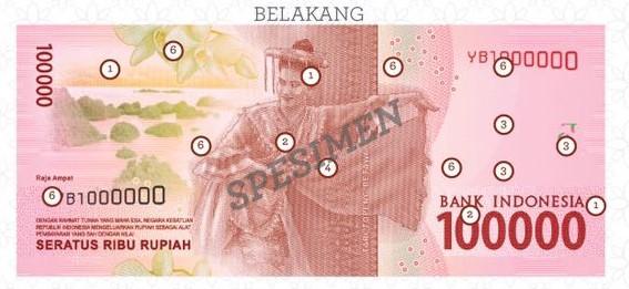 tampak belakang mata uang baru